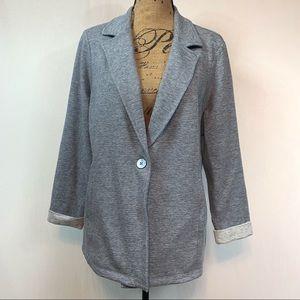 Matty M Blue Knit Blazer XL Jacket Casual Work